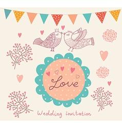 Floral Wedding Inviation vector image vector image