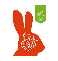 happy easter typographical and eggs label vector image