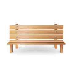 wooden bench realistic single vector image