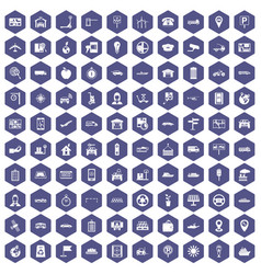 100 navigation icons hexagon purple vector