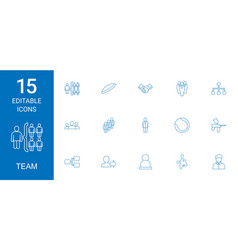 15 team icons vector image