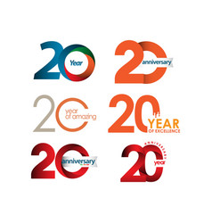 20 year anniversary set template design vector