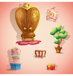 A set furniture and items for doll princess vector