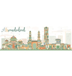 Abstract Ahmedabad Skyline with Color Buildings vector