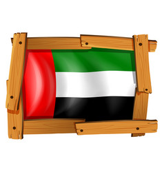 Arab emirates flag in wooden frame vector