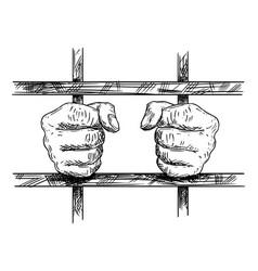 Artistic drawing hands prisoner in prison vector