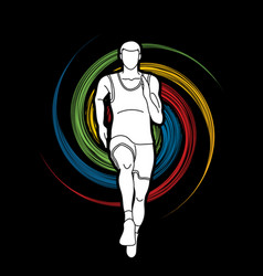 Athlete runner a man runner running front view vector