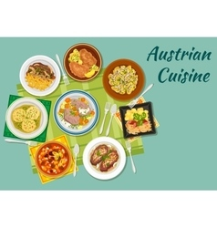 Austrian cuisine flat icon with meat dishes vector image