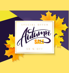 Autumn sale banner with hand lettering and vector