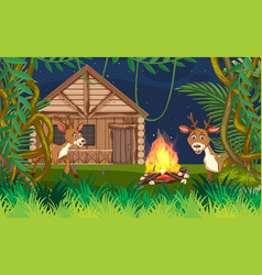 Background scene with deers and wooden cottage in vector