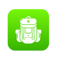 backpack tourism icon green vector image