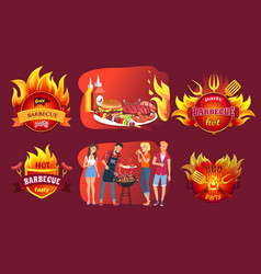 Barbecue party emblems and people around grill vector