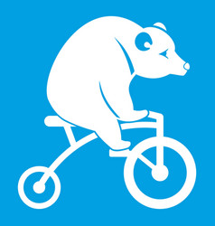 Bear on a bike icon white vector