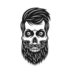 bearded hipster skull with hair and mustache vector image