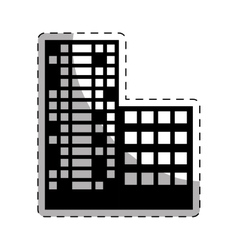 Black buildings and city scene line sticker vector