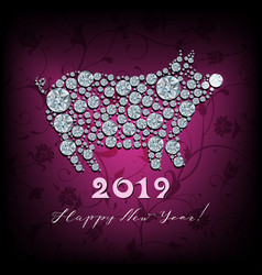 boar pig - silhouette of symbol 2019 year vector image