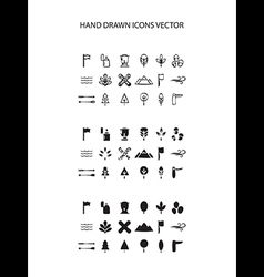 Camping icon set hand drawn on white vector image