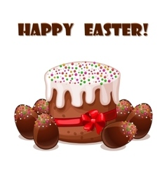 card Easter cake and chokolate eggs vector image
