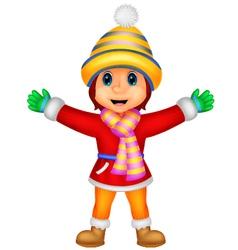 Cartoon a girl in winter clothes waving vector