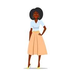 Cartoon African american woman with afro vector