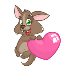 cartoon cute bawolf in love and holding a heart vector image