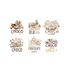 chocolate original labels and logos design vector image