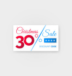 Christmas sale 30 percent discount coupon vector