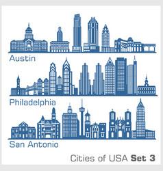 Cities usa - austin philadelphia san antonio vector