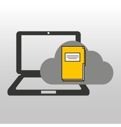 Cloud computer connected files vector