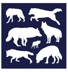 Collection silhouette wolfs logo wildlife wild vector