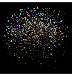 colorful confetti on black vector image vector image