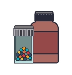 Colorful pill bottle and remedy bottle vector