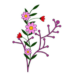 comic style branch with flowers vector image