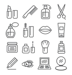 Cosmetics line icons vector image