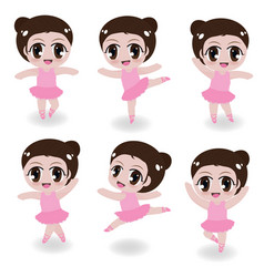 cute ballerina girl in pink dress collection on vector image