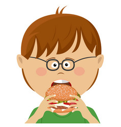 Cute little nerd boy with glasses eats burger vector