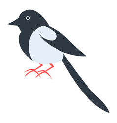 Cute magpie cartoon flat sticker or icon vector