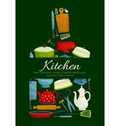 Cutting board with kitchen utensils poster vector