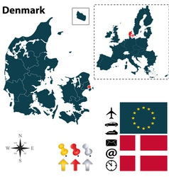 Denmark and European Union map vector image