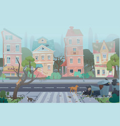 Dirty foggy street with garbage around empty city vector