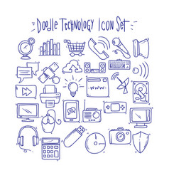 doodle technology icon set vector image