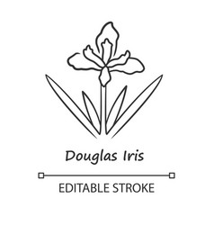 Douglas iris plant linear icon california vector