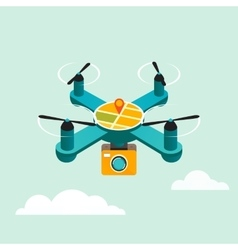Drone quadcopter with camera flat 3d vector image
