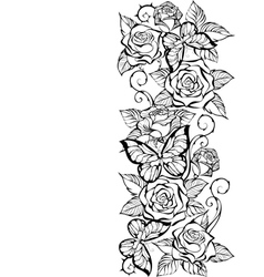 Edge of Contour Roses and Butterflies vector