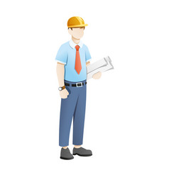 engineer carry blue print sheets on white vector image