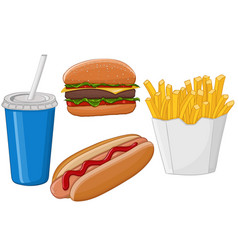 fast food hand drawn colored sketch vector image