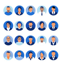 flat modern blue minimal avatar icons business vector image