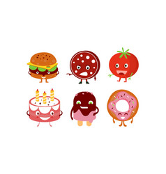 flat set humanized food burger sausage vector image
