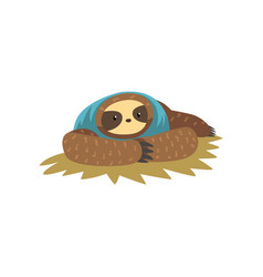 Funny sloth lying lazy exotic rainforest animal vector