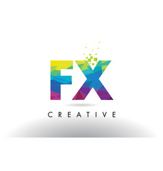 fx f x colorful letter origami triangles design vector image